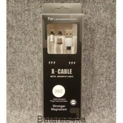 Магнитный кабель x cable 3 в 1 - Lightning Micro USB Type-C белый, , 2.80$, 64570, , Шнуры для телефонов и планшетов