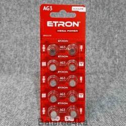Батарейки ETRON AG3, , 0.03$, 55684, ETRON, Батарейки таблетки ETRON
